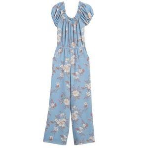 NWT Love Ady Blue Floral Off Shoulder Jumpsuit